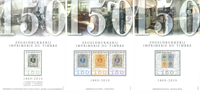 Belgium - 150 years of the stamp - Mint set of 3 souvenir sheets