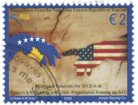 Kosovo - Amitié avec les Etats-Unis - Timbre obl.