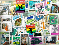 Rwanda - Frimærkepakke 865 forskellige frimærker og 18 forskellige miniark