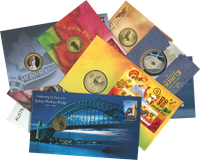 Australien - 9 møntbreve med bl.a. 2 stk. 5 dollars