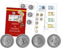 Samlet tilbud: 4 Videnskabsmønter/500 kr. sølv + Danmark møntkatalog 2019