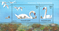 Denemarken - Nationale vogel - Postfris souvenir velletje