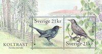 Suède - Europa Cept 2019, oiseaux, merle noir - Bloc-feuillet neuf