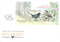 Sweden - EUROPA 2019 birds, noun - First Day Cover with s/s