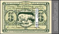 Groenland - Billet de banque 5 kr. vert - Bloc-feuillet neuf