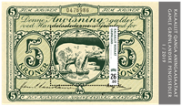 Grønland - Pengeseddel 5 kr. grøn - Postfrisk miniark
