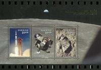 Sweden - Moon landing, Stockholmia overprint - Souvenir exhibition sheet