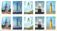 Denmark - Lighthouses - Mint strip of 10 stamps