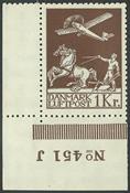 Danemark - 1 kr. ancienne poste aérienne