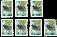 Fidji - Oiseaux surcharge - Série neuve 7v