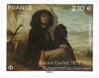 France - Gustave Courbet auto-portrait avec chien noir - Timbre neuf