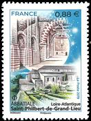 France - Abbatiale Saint-Philbert - Timbre neuf