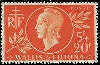 Wallis 147 * 5 fr+20f rouge- orange Entraide francaise 1944