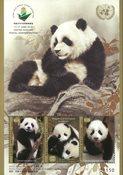 FN - Wuhan frimærkeudstilling 2019, pandaer - Postfrisk miniark
