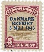 Grønland - 1945. Danmark Befriet - 5 øre - Blåt over tryk - Postfrisk